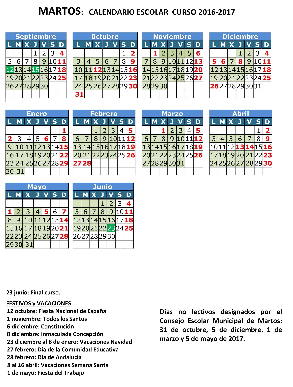 Calendario escolar 2016-17 Martos