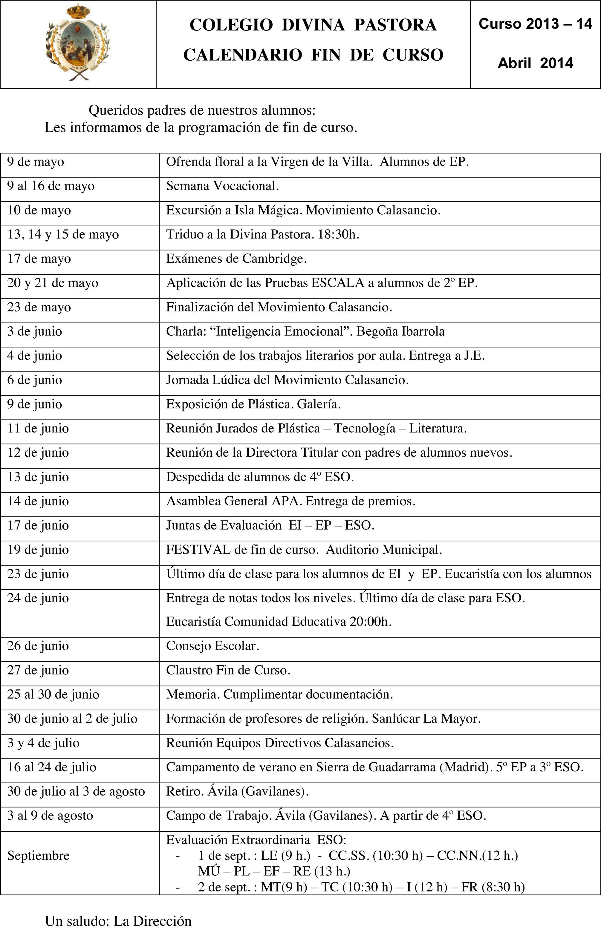 Calendario fin de curso 2014