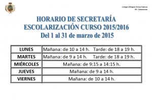 horario secretaría marzo