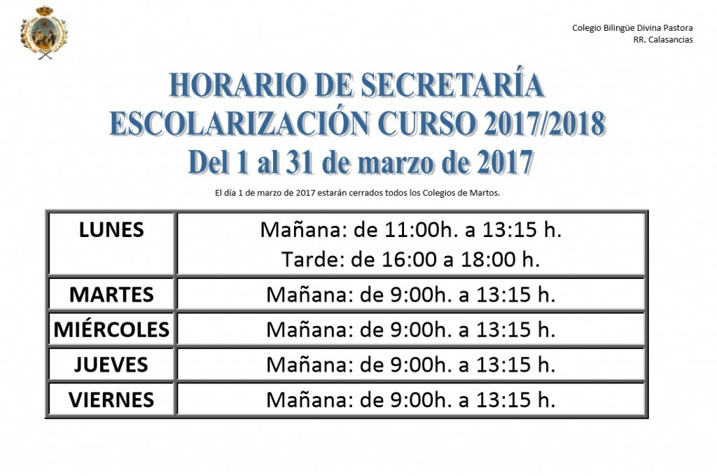 horario de secretaría marzo 17