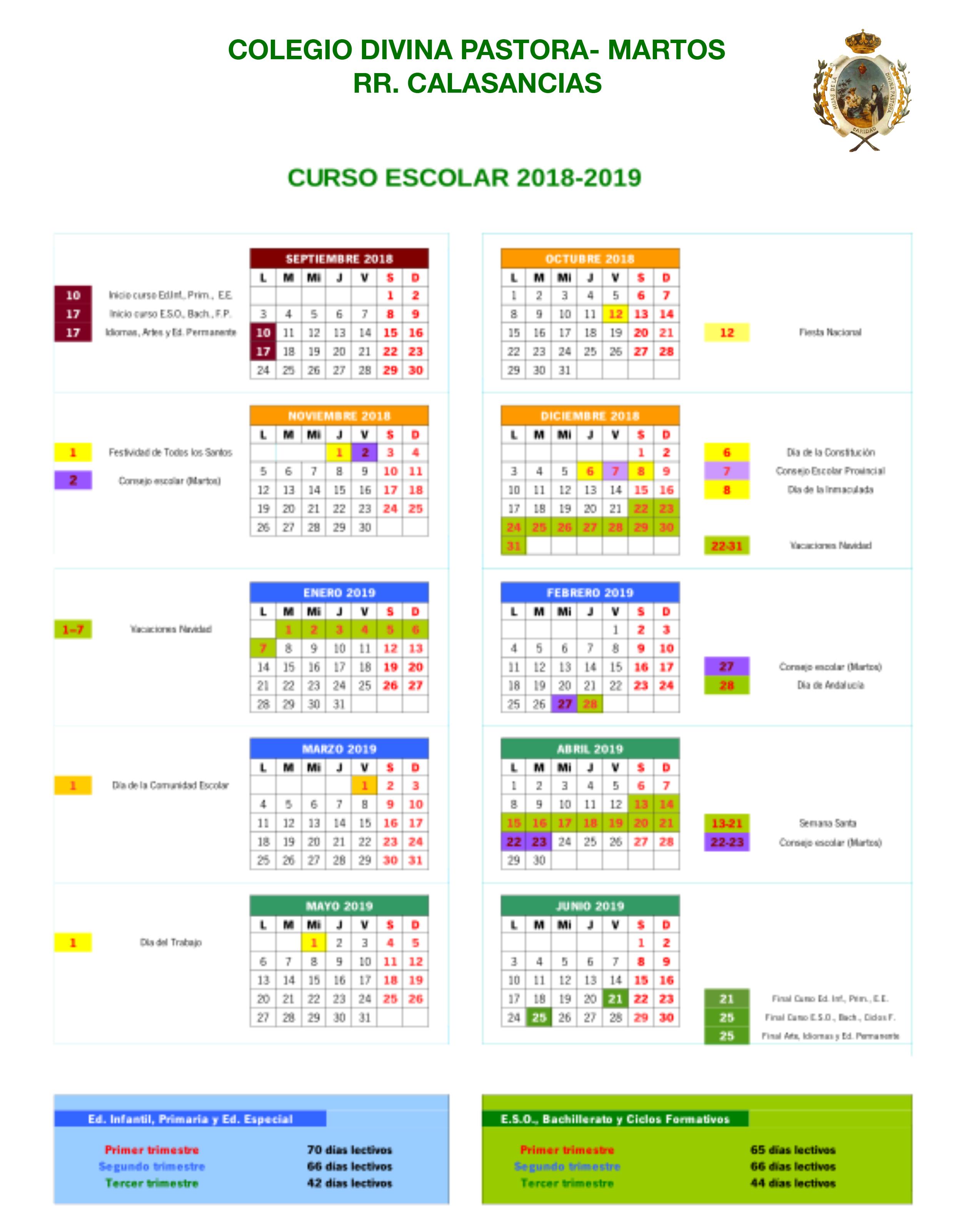 Calendario Escolar 1819.Calendario Escolar 18 19 Colegio Bilingue Divina Pastora