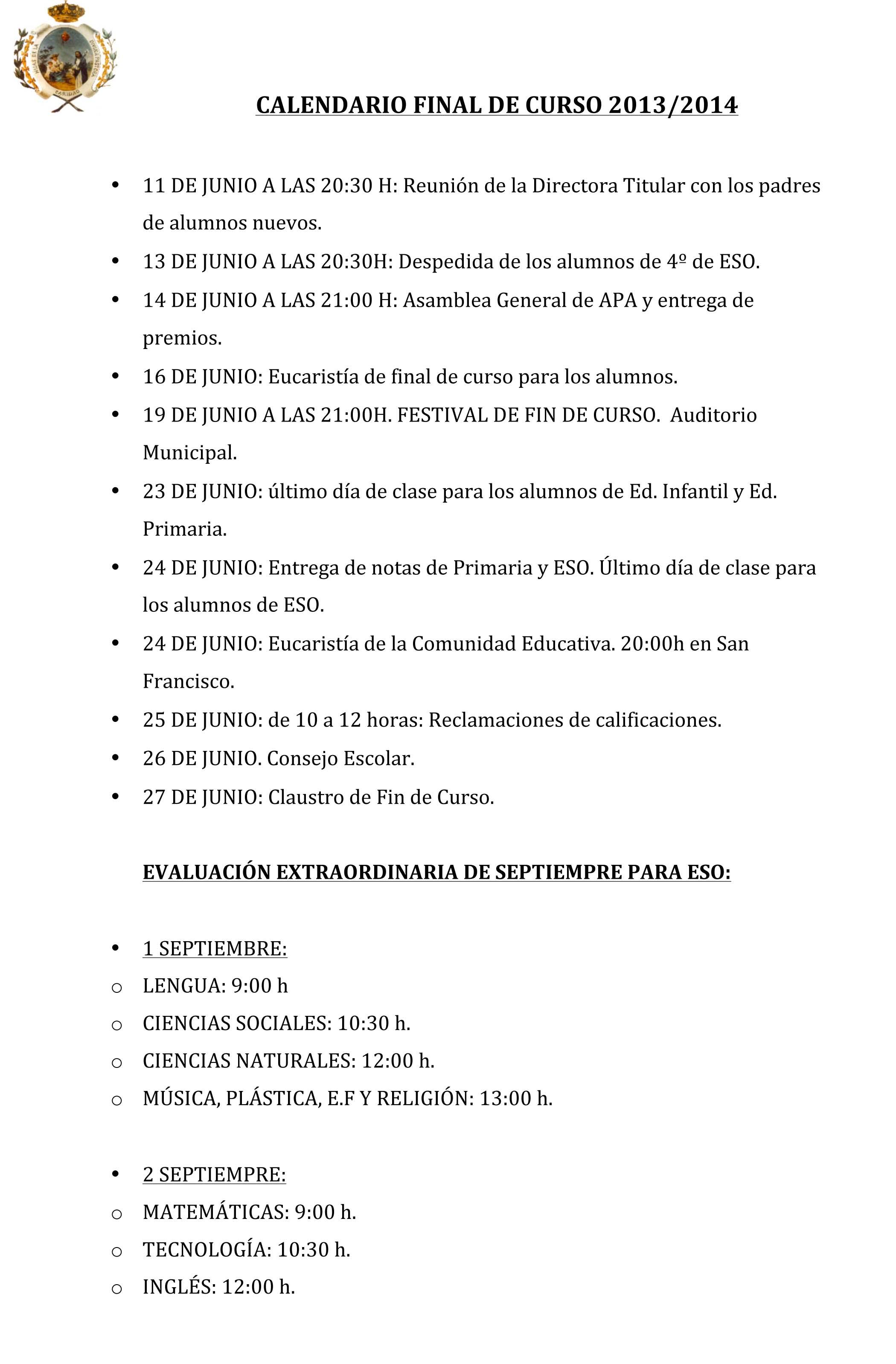 Microsoft Word - CALENDARIO FINAL DE CURSO 2013.docx