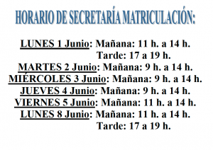 horario de secretaria matriculación